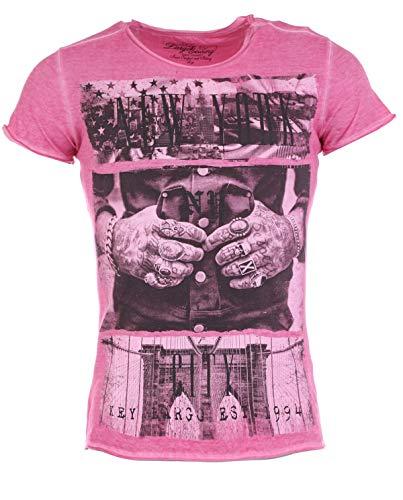 Key Largo Herren T-Shirt NEW YORK Vintage Look Printshirt USA Tattoo Rings Hands pink XL