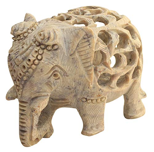 NEW YEAR DEALS - Soapstone Collectible Figurine Sculpture of Mother Elephant with Baby Inside Mother's Tummy - Handmade in Openwork From a Single Block of Stone Stone Art 5' Soapstone Collectible