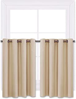 NICETOWN Window Treatment Kitchen Drapes - Plain Solid Grommet Top Short Curtains for Kitchen Window (Biscotti Beige, 2 Pieces per Pack, 52 inches Wide x 36 inches Long + 1.2 inches Header)