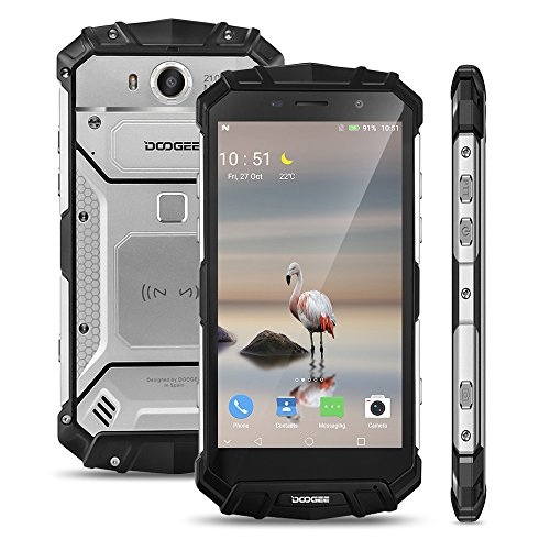 DOOGEE S60-4G Outdoor Smartphone ohne Vertrag (5.2 Zoll, Android 7.0, 21.0 MP 8.0 MP, IP68, Staubdicht, 6GB RAM 64GB ROM, dual LED-Blitz, dual SIM, Octa Core, 1920 * 1080 Pixel) (Silber)