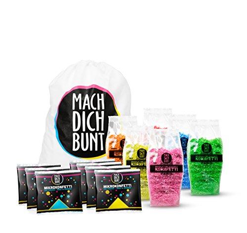 Mach Dich Bunt Konfetti Set inkl. 6 Farben Kornfetti und Mikrokonfetti, & Einem Rucksack - Bereit für Das nächste Holyfestival,Party oder EIN Shooting