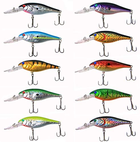 OROOTL Hard Fishing Lures Bait Minnow Lures Bass Crankbait Set Life Like Swimbait Deep Diving Sinking Lures with Treble Hook for Bass Trout Walleye Redfish