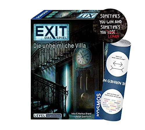 Collectix EXIT - Das Spiel: Die unheimliche Villa (Level: Avanztene), Escape Room Spiel A partir de 12 años, 1 x Exit Sticker + 1 x Póster de ilusión óptica