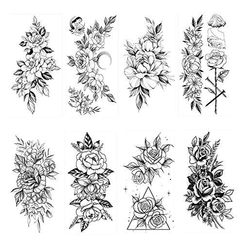 HOWAF 8 BläTter Groß Schwarz Rose Blume Temporäre Tattoos Frauen Körper Arm Beine Päonie Geometrisch Tattoo Aufkleber Gefälscht Wasserdicht Tätowierung Sexy Temporary Tattoos