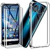 HYMY Funda para Nokia 8.3 5G Funda + 2 x Cristal Templado - Transparente Tapa TPU Silicona [Refuerzo de Cuatro Esquinas, Absorción de Golpes] Caso Carcasa Nokia 8.3 5G