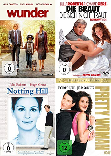 Julia Roberts 4-Filme Collection: Pretty Woman + Notting Hill + Wunder + Die Braut die sich nicht traut (4er DVD-Set]
