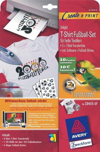 Avery Zweckform T-Shirt Transfer-Folie für Tintenstrahldrucker für helle Baumwoll-Textilien 6 Blatt Aktion: Fußballpunkte sammeln
