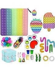 Tik Tok Fidget leksaker pack, sensoriska fidgetleksaker set, billig fidget pack med stor storlek pop push bubbla, handleksaker stress ångestlindrande leksaker set för barn och vuxna ADHD autism