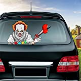 Meitinalife Halloween Horror Clown Waving Wiper Decal for Rear Window 3D Cartoon Animated Festive Car Sticker Vinyl Decal for Vehicle Rear Wipers Halloween Decoration