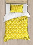 ABAKUHAUS Senf Funda Nórdica, Resumen anidada Rombos, Decorativo, 2 Piezas con 1 Funda de Almohada, 130 cm x 200 cm, Mostaza Pastel Yellow