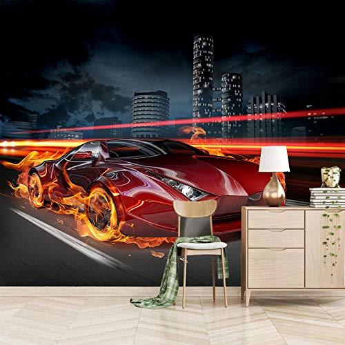 Muurschildering Non-Woven Vlam Sport Auto Fotobehang - Moderne Decoratieve voor Kids Slaapkamer Keuken Woonkamer Badkamer 400x280cm