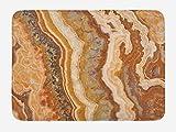 Antidérapant Tapis de Douche en Souple Onyx Marbre Motif Travertin Minéral Formé Encre Aquarelle Illustration Texturée -80X60cm Salle de Bain de Tapis Lavable en Machine