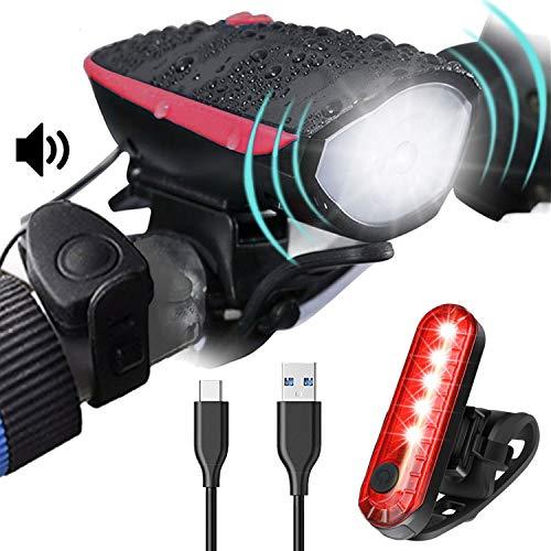 Luz Bicicleta Kit con Timbres Sirena,Conjuntos de Faros Delanteros y Traseros Para Ciclismo,Recargable USB, Luz LED Bicicleta Electrica para Patinete Electrico Carretera y Montaña