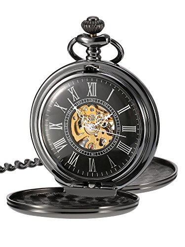 Mudder Smooth Double Cover Antique Skeleton Mechanical Pocket Watch Xmas Wedding Birthday Gift (Black)