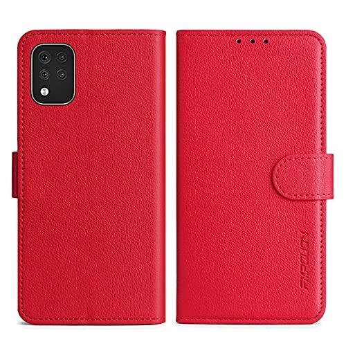 FMPCUON Handyhülle Kompatibel mit LG K42 Hülle Leder PU Leder Tasche,Flip Hülle Lederhülle Handyhülle Etui Handytasche Schutzhülle für LG K42,Rot