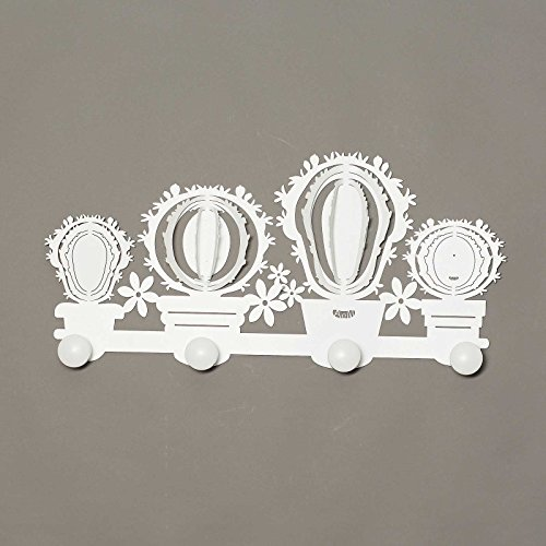 Arts et métiers Porte-Manteau Mural en métal Cactus . Blanc