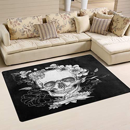 Use7 Teppich mit Totenkopf-Motiv, Schwarz / Weiß, Textil, mehrfarbig, 50 x 80 cm(1.7' x 2.6' ft)