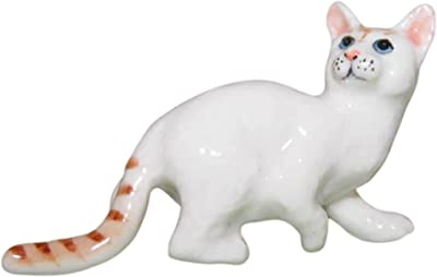 Cozinest White Tabby Bengal Ceramic Cat Figurine Dollhouse Miniatures Collectible Porcelain Kitty Doll Animals Decor or Gift