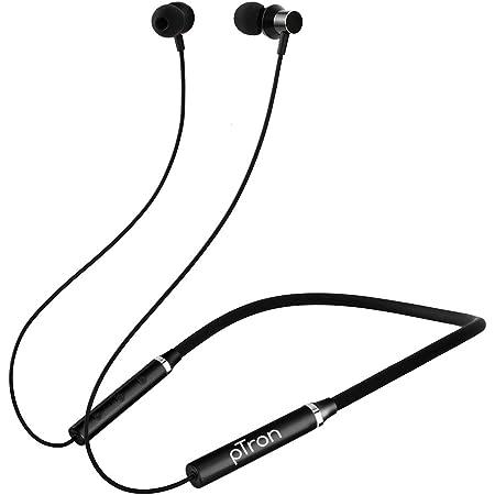 pTron Tangentbeat Bluetooth 5.0 Wireless Headphones with Deep Bass, Ergonomic Design, IPX4 Sweat/Waterproof Neckband, Magnetic Earbuds, Voice Assistant, Passive Noise Cancelation & Mic - (Black)