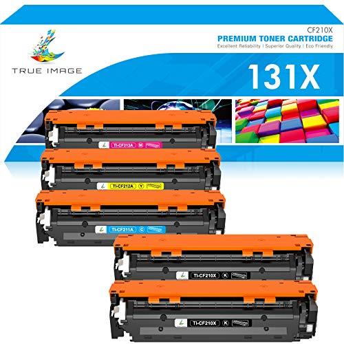 True Image Compatible Toner Cartridge Replacement for HP 131X CF210X 131A CF210A HP LaserJet Pro 200 Color M251nw M251n MFP M276nw M276n CF211A CF212A CF213A Toner (Black Cyan Yellow Magenta, 5-Pack)
