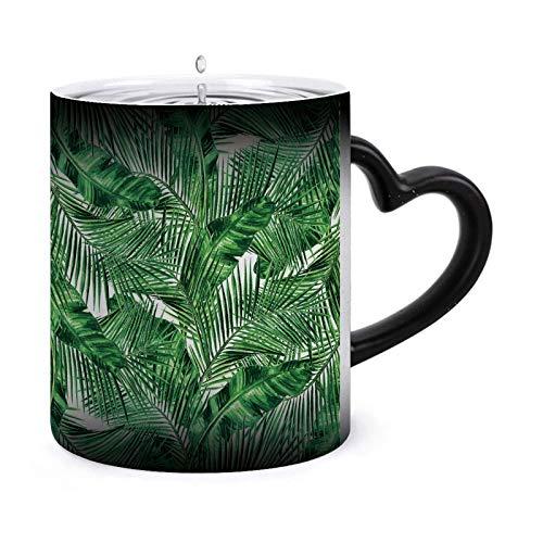 Taza de café mágica que cambia el calor, sin costuras, con patrón de selva tropical, taza de cerámica sensible al calor que cambia de color, 11 oz