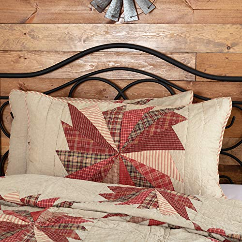 VHC Brands Farmhouse Rustic & Lodge Ozark Red Bedding Accessory, King Sham 21x37