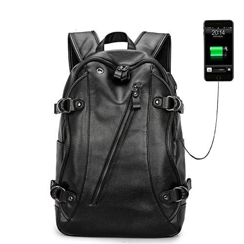 Yaceeng Rugzak voor heren, van PU-leer, schoolrugzak, laptoprugzak voor tieners, ontwerpers, rugzakken, casual tassen, grote capaciteit
