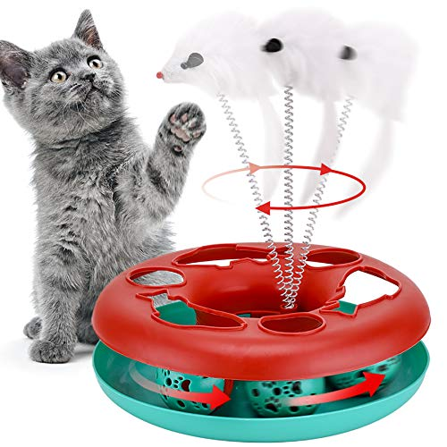 Cat Toys, Cat Toys for Indoor Cats,Interactive Kitten Toys Roller Tracks with Catnip Spring Pet Toy with Exercise Balls Teaser Mouse (red)