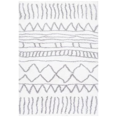 Soft & Plush Geometric Drawings Kids Grey Shag Area Rugs, 4 Feet x 6 Feet (4' x 6')