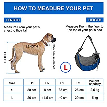 Pet Carrier Hand Free Sling Puppy Carry Bag Small Dog Cat Traverl Carrier with Breathable Mesh Pouch for Outdoor Travel Walking , Pet Supplies (blue) 6