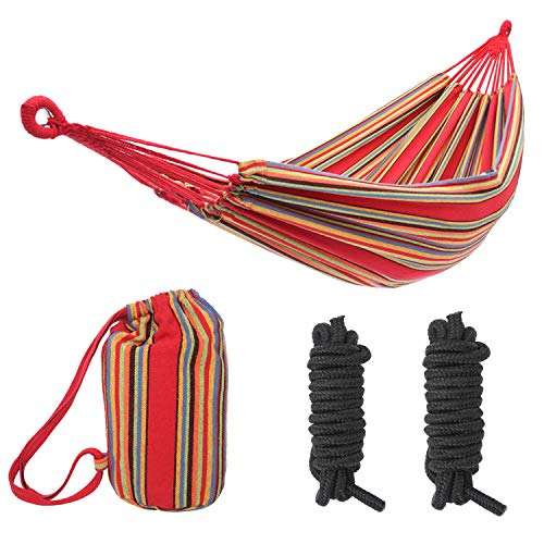 seven wolves 200150cm Portable Polyester & Cotton Hammock Double Travel Hammocks 450lbs Ultralight Camping Hammock Beach Swing Bed Hanging Suspended Outdoor Indoor Bed, Red Strip