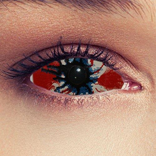 """Designlenses, Dos Sclera lentillas de color rojo sangriento y negro para Halloween 22mm Zombie infectado disfraz lentillas sin dioprtías/corregir + gratis caso de lente """"Cordyseps"""""""
