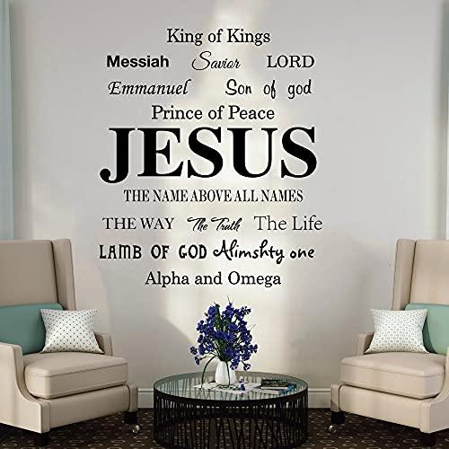 Etiqueta de la pared de la palabra del Mesías con el nombre de Jesús, calcomanía de pared con letras religiosas para dormitorio, sala de estar, decoración de vinilo para cocina-56x48cm