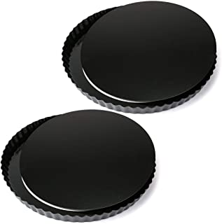 Tosnail 2 Pack 11 Inch Nonstick Quiche Pan, Tart Pie Pan with Removable Loose Bottom