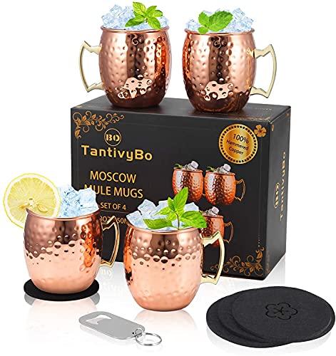 TantivyBo Moscow Mule Becher, 550ml Gehämmerte Kupferbecher 4er Set, Auskleidung aus rostfreiem Stahl, 100% handgefertigtes Kupferbecher-Geschenkset, Perfekt für jeden Cocktail gekühltes Getränk
