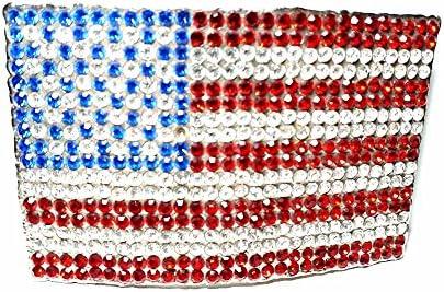 Artesanal Hebilla para cinturón 4cm, Bandera USA 504Brillantes 7,5x 11cm, Color Plata, Hebillas Metal o Piedras o Brillantes o esmaltes o Vetri Murrine Murano, PIU '1Llavero CC1