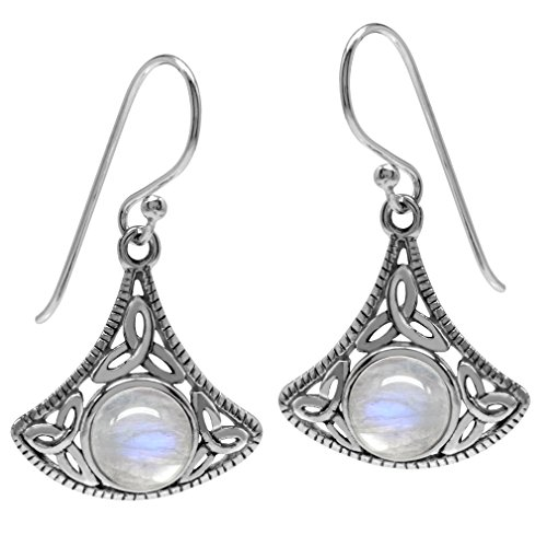 Silvershake Natural Moonstone 925 Sterling Silver Triquetra Celtic Knot Dangle Hook Earrings