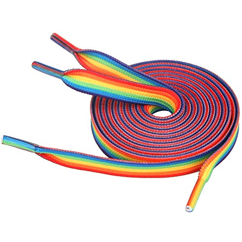 5Chaos Rainbow Striped Shoelaces, Gay Pride LGBTQ Shoe Laces for Men, Women, Girls and Parades, Colorful Fun Shoestring with Metal Aglets 1 Pair (31' (80CM))