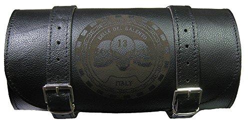 Motorrad-Tasche aus Leder, 20 x 10 cm, Totenkopf-Gravur, für Werkzeug bikebag Satteltasche kompatibel mit harley devindson Motorrad Guzzi Triumph