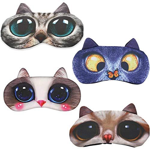 Bonita máscara de ojos para dormir, divertida, gato, carlino, perro carlino, máscara...