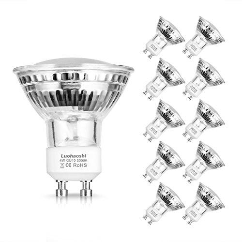 4W GU10 LED light bulb, Luohaoshi 50W ricambio faretto LED, luce bianca calda, 3000K, 380LM, angolo di diffusione 120 °, per illuminazione da incasso, illuminazione a binario, 10PACK