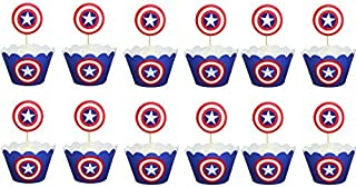 Captain America Cupcake Toppers Mufiin Wrappers Toppers Party Pack for 12 Cupcakes