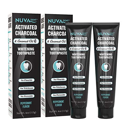 Nuva Dent Activated Charcoal Toothpaste w/Coconut Oil for Teeth Whitening