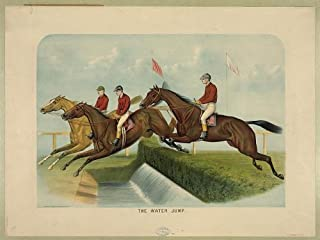HistoricalFindings Photo: The Water Jump,Horse Racing,Jockeys,c1884,Currier & Ives Photo,John Cameron