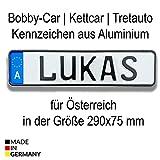 Bobbycar Kettcar Tretauto Namensschild Kennzeichen nach ihrem Wunsch geprägt reflektierend Top Geburtstags-Geschenk (Österreich)