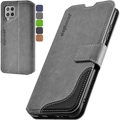 elephones Handyhülle für Samsung Galaxy A42 5G Hülle mit TÜV geprüftem RFID-Schutz aus Premium PU Leder Flip-Hülle Handy-Tasche Schutz-Hülle Kompatibel mit Samsung Galaxy A42 5G Grau