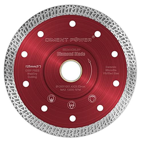 Diment Power Disco de corte de diamante de 125 mm x 22.23mm,para corte de Porcelanico,Cerámica dura,Azulejos,Mármol,Granito,Piedra caliza