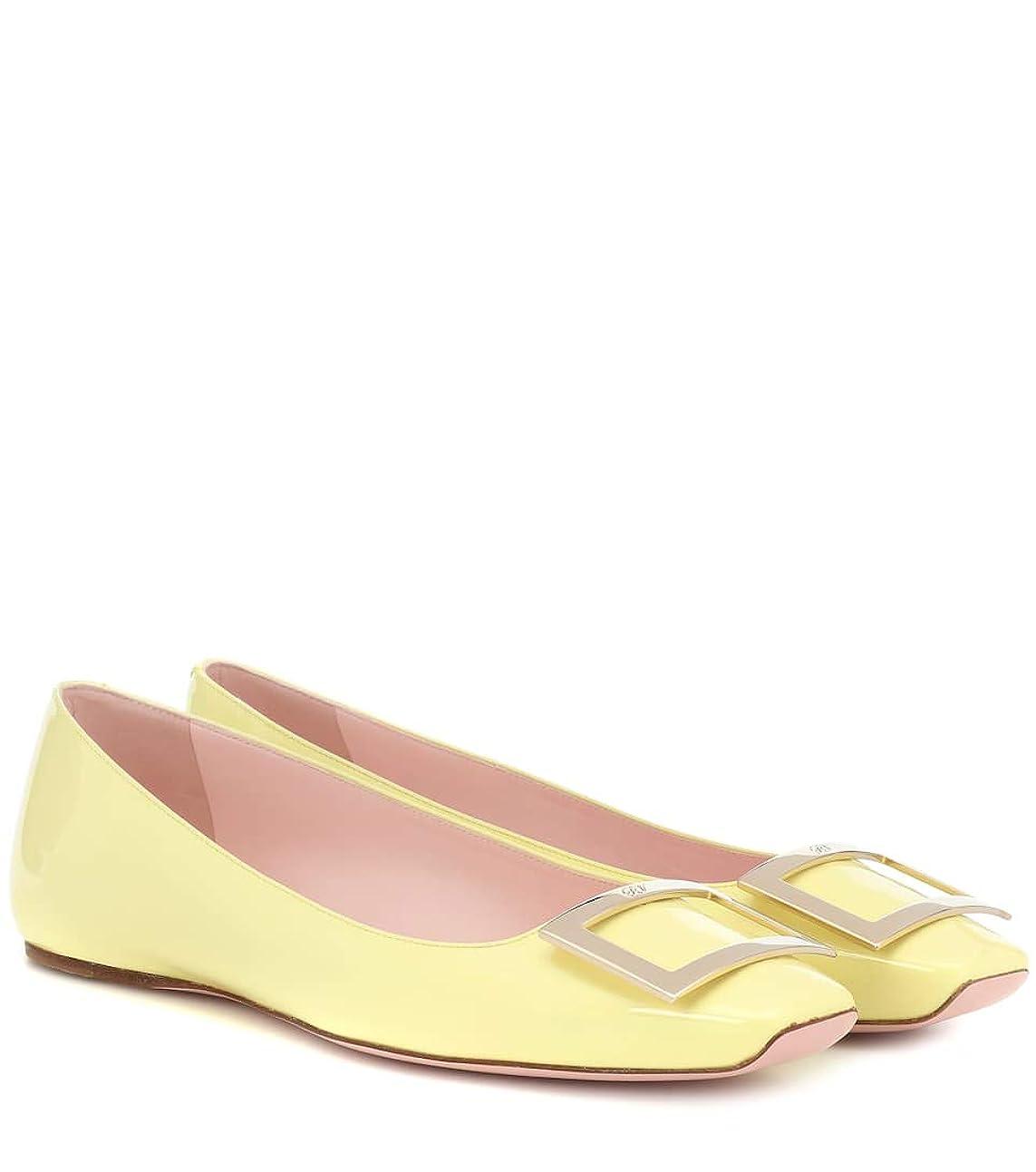 遺体安置所符号絡み合い[ロジェ ヴィヴィエ] レディース シューズ 靴 スリッポン フラット Belle Vivier patent leather ballet flats Giallo Narciso (並行輸入品)