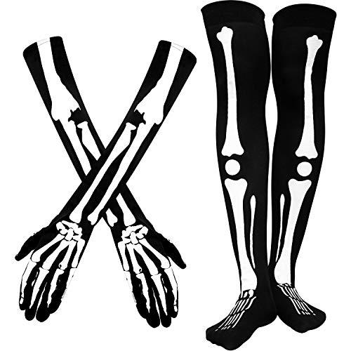 Halloween Skeleton Gloves Arm Warmer Over Knee Skeleton Stockings Knee Thigh High Stockings for Men Women Halloween
