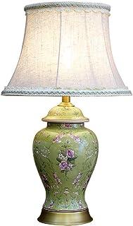 Lampe de Table en céramique de en Relief léger Peint à la Main Fleur européenne Lampe de Chevet Salon Studio Chambre en Li...